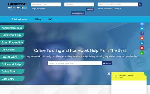 Screenshot of Home Page homeworkminutes.com - Homework Minutes - Online tutoring and homework help - captured Sept. 24, 2018