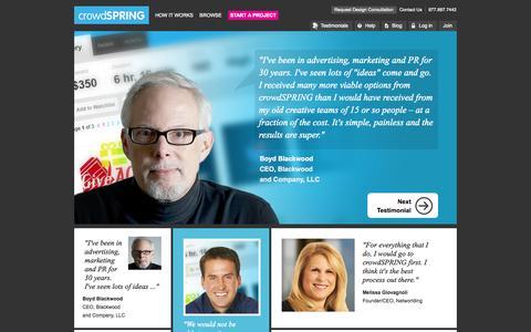 Screenshot of Testimonials Page crowdspring.com - Logo Design, Web Design and Naming by the World's Best Creative Team | crowdSPRING - captured Sept. 12, 2014