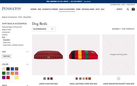 Screenshot of pendleton-usa.com - Dog Beds | Bags & Accessories Pets | Pendleton - captured Oct. 22, 2017