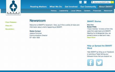 Screenshot of Press Page getsmartoregon.org - Newsroom - SMART - captured Oct. 3, 2014