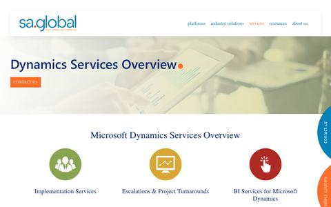 Screenshot of Services Page saglobal.com - sa.global provides Microsoft Dynamics Services for VAR's, ISV's & End Users | sa.global USA - captured Dec. 5, 2019