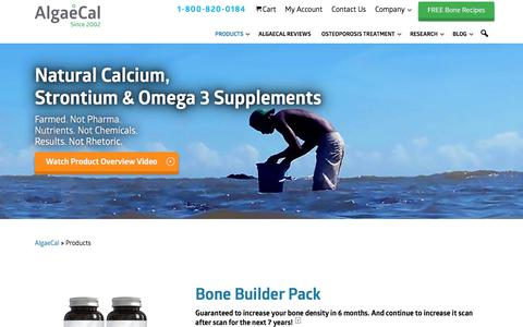 Screenshot of Products Page algaecal.com - Our Best Calcium Supplement Products - AlgaeCal - captured Sept. 23, 2018