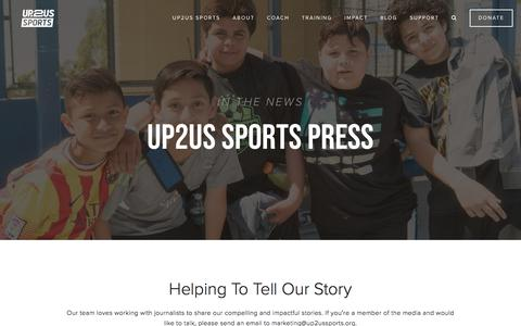 Screenshot of Press Page up2us.org - Press  — Up2Us Sports | Coaching for Change - captured June 30, 2019