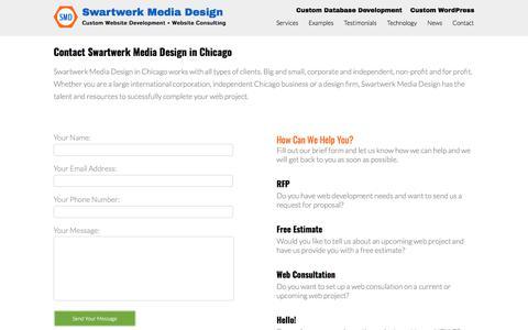 Screenshot of Contact Page swartwerk.com - Contact Chicago Website Development - Chicago Website Consulting  - Swartwerk Media Design, Chicago - captured Feb. 10, 2018