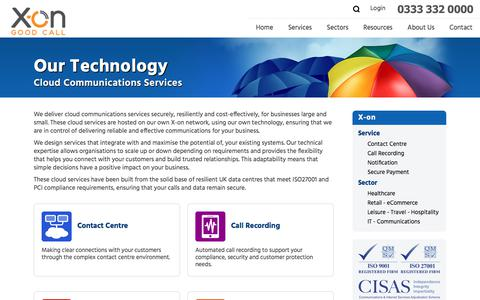 Screenshot of Services Page x-on.co.uk - X-on Cloud Communications Services - captured June 11, 2017