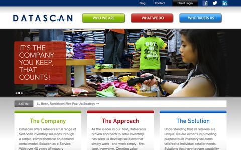Screenshot of Home Page datascan.com - Datascan offers retailers a full range of Self-Scan inventory solutions - Home - captured Oct. 5, 2014