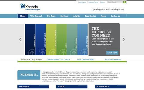 Screenshot of Home Page xcenda.com - Consultancy | HEOR | Managed Markets | Reimbursement | Xcenda - captured Sept. 30, 2014