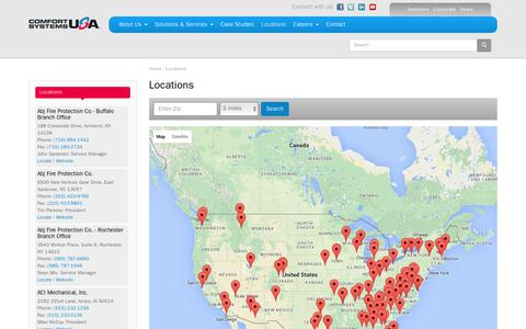 Screenshot of Locations Page comfortsystemsusa.com - Locations | Comfort Systems USA - captured Dec. 10, 2015