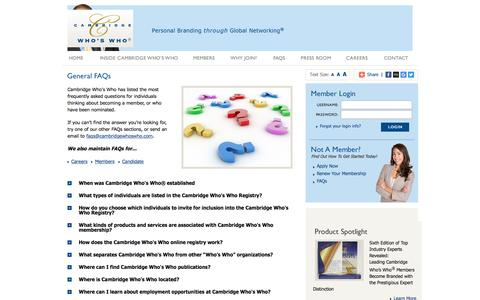 Screenshot of FAQ Page cambridgeregistry.com - General FAQs for Cambridge Who's Who - Personal Branding Through Global Networking - captured March 3, 2016