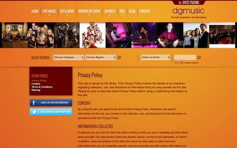 Screenshot of Privacy Page dgmusic.co.uk - Privacy Policy - captured Oct. 5, 2014