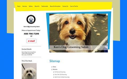 Screenshot of Site Map Page kensdoggroomingsalon.com - Ken's Dog Grooming Salon in San Jose, CA - captured Sept. 30, 2014