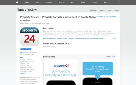 Screenshot of iOS App Page apple.com - Property24.com -  Property for Sale and to Rent in South Africa on the App Store on iTunes - captured Oct. 23, 2014