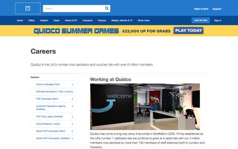 Screenshot of Jobs Page quidco.com - Careers | Quidco - captured July 26, 2016