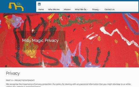 Screenshot of Privacy Page millymagic.com - Privacy | Milly Magic Pty Ltd - captured Feb. 13, 2016
