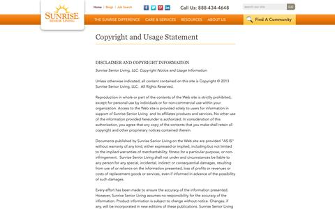 Screenshot of Terms Page sunriseseniorliving.com - Terms And Conditions | Sunrise Senior Living - captured Sept. 19, 2014