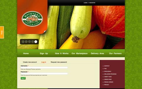 Screenshot of Login Page byproduce.com - User account | Backyard Produce - captured Jan. 22, 2016