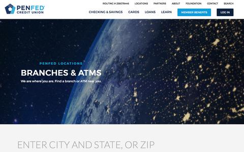 Screenshot of Locations Page penfed.org - Find PenFed Branches and ATM Locations - captured July 20, 2017