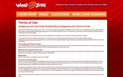 Screenshot of Terms Page wingzone.com - Terms of Use   Wing Zone   We Deliver Amazing Flavor - captured Oct. 26, 2014