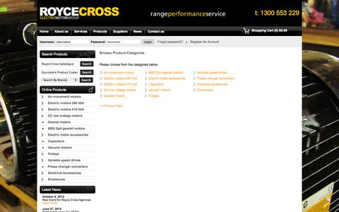 Screenshot of Products Page roycecross.com.au - - Product List - Royce Cross Agencies - captured Oct. 1, 2014