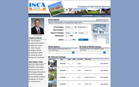 Screenshot of Home Page incarealtyhomes.com - Homes for Sale in Genesee County, Michigan - captured Oct. 3, 2014