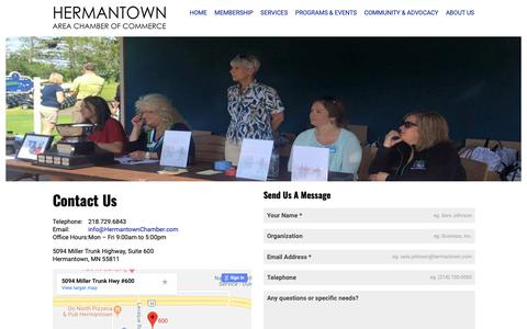 Screenshot of About Page Contact Page hermantownchamber.com - Connect - Hermantown Area Chamber of Commerce - captured Sept. 28, 2018