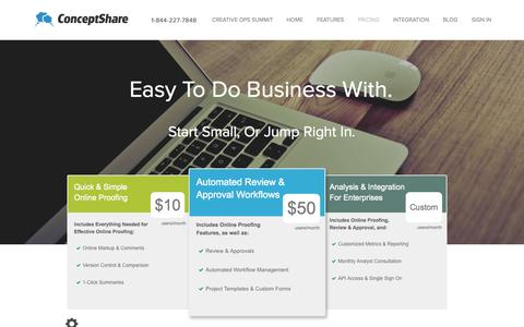Screenshot of Pricing Page conceptshare.com - Online Proofing, Review and Approval Workflow —Easy to Do Business With. - captured Oct. 6, 2015