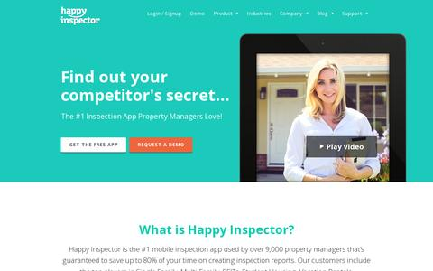 Screenshot of Home Page happyinspector.com - Property Inspection App Software | Happy Inspector - captured July 11, 2014