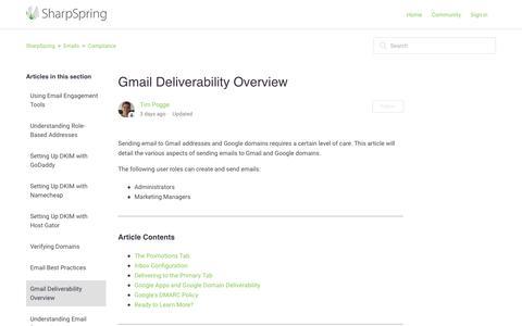 Screenshot of Support Page sharpspring.com - Gmail Deliverability Overview – SharpSpring - captured March 5, 2018