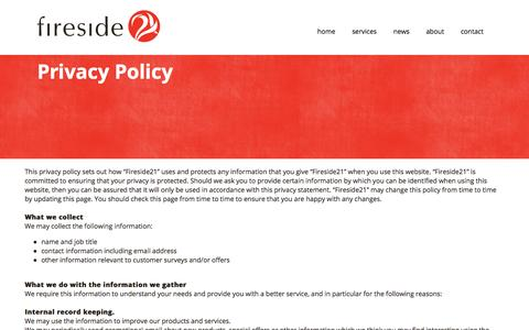 Screenshot of Privacy Page fireside21.com - Privacy Policy | Fireside21 - captured Oct. 29, 2014