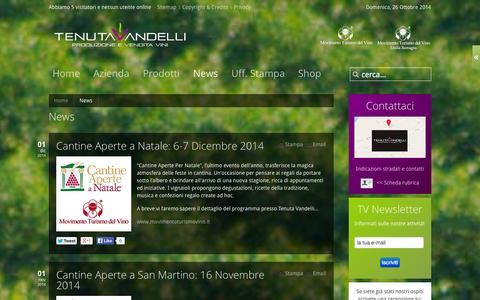 Screenshot of Press Page tenutavandelli.it - News - captured Oct. 26, 2014