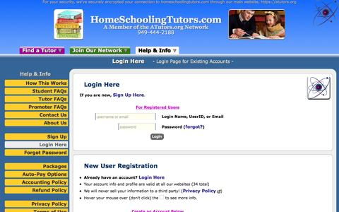 Screenshot of Login Page atutors.org - HomeSchoolingTutors.com: Login Here - Login Page for Existing Accounts - captured Nov. 12, 2016