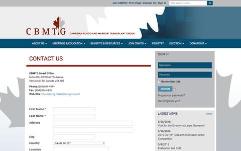 Screenshot of Contact Page cbmtg.org - CBMTG - captured June 11, 2016