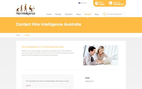 Screenshot of Contact Page hire-intelligence.com.au - Contact Hire Intelligence Australia - captured Nov. 10, 2016