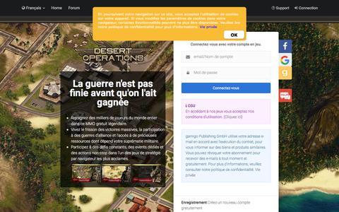Screenshot of Login Page gamigo.com - Desert Operations - Le jeu de stratégie par navigateur gratuit - captured Sept. 22, 2018