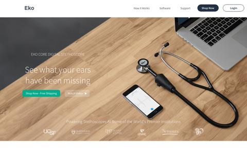 Screenshot of Home Page ekodevices.com - Eko Core Digital Stethoscope - captured May 30, 2016