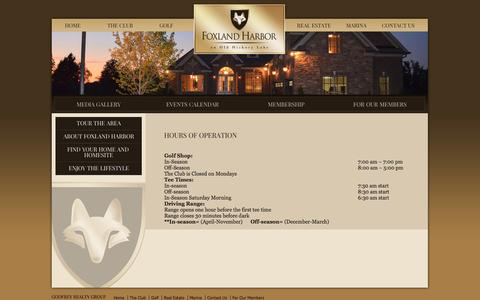Screenshot of Hours Page foxlandharbor.com - Hours of Operation - Foxland Harbor | Gallatin TN Golf & Country Club - Foxland Harbor | Middle Tennessee Homes & Gallatin Communities - captured Oct. 3, 2014