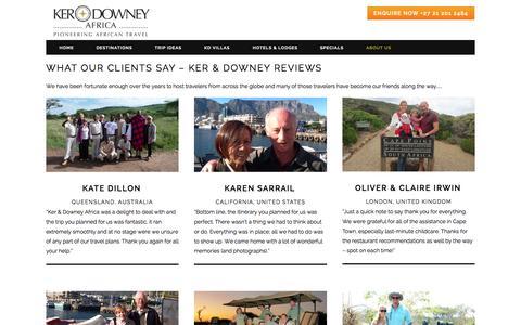 Screenshot of Testimonials Page ker-downeyafrica.com - Ker & Downey Reviews I Ker & Downey Africa - captured Sept. 24, 2015