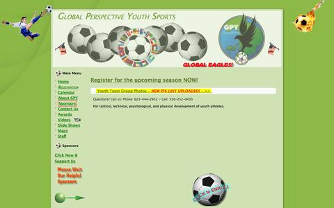 Screenshot of Home Page gpysports.org - Global Perspective Youth Sports - captured Oct. 2, 2014