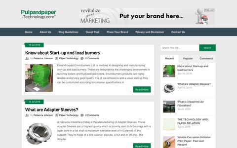Screenshot of Blog pulpandpaper-technology.com - Pulp and Paper Technology Blog - captured July 19, 2016