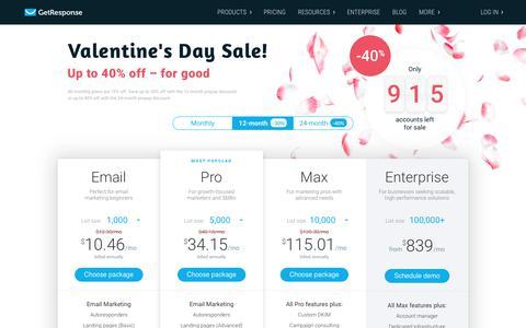 Screenshot of Pricing Page getresponse.com - Pricing options - email marketing - GetResponse - captured Feb. 13, 2019