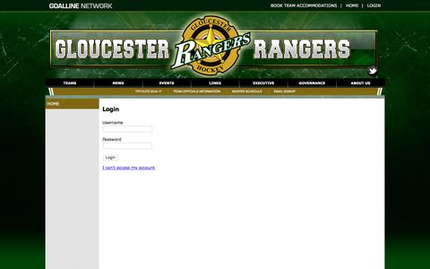 Screenshot of Login Page goalline.ca - Gloucester Rangers Minor Hockey powered by GOALLINE.ca - captured May 24, 2016