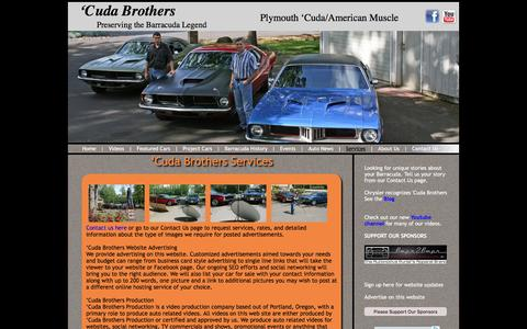 Screenshot of Services Page cudabrothers.com - 'Cuda Brothers services including auto videos � Cuda Brothers Production - captured July 18, 2016