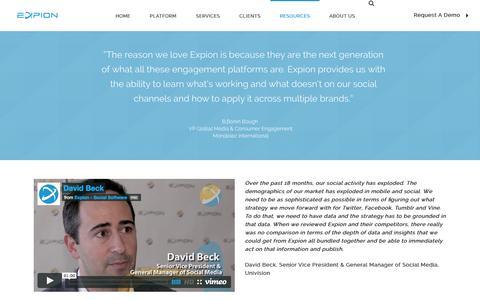 Screenshot of Testimonials Page expion.com - Testimonials - Expion I Content Marketing & Social Relationship Platform - captured Sept. 23, 2014