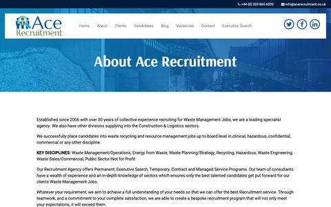 Screenshot of About Page acerecruitment.co.uk - Ace Recruitment Specialists in Waste Management Jobs - captured Oct. 2, 2018