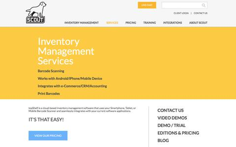 Screenshot of Services Page scoutsft.com - Inventory Management Services | Scout - captured July 8, 2017