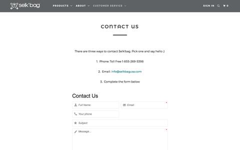Screenshot of Contact Page Support Page selkbagusa.com - Contact Us - Selk'bag - captured May 26, 2017