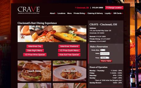Screenshot of Menu Page craveamerica.com - Menus - CRAVE America - captured Jan. 23, 2016