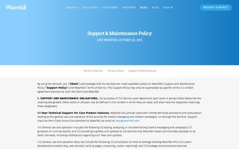 Screenshot of Support Page waterfall.com - Support & Maintenance - Waterfall - captured Oct. 22, 2017