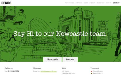 Screenshot of Contact Page wearedecide.com - Contact our team in Newcastle | DECIDE. - captured Oct. 18, 2018