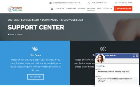 Screenshot of Support Page creatorswebindia.com - Web Design Support Page: Technical & Customer Support - captured Nov. 5, 2018